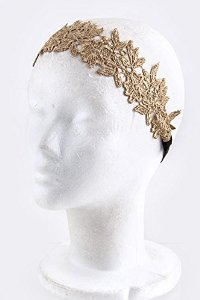 Amazon.com - Mighty Gadget HAIR ACCESSORIES - LACE FLORAL MOTIF HEADBAND (Color Choices: Gold) - Random Color Selection Subject to Stock on Hand -