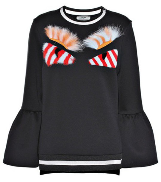 Fendi Fur-embellished cotton-blend sweatshirt in black