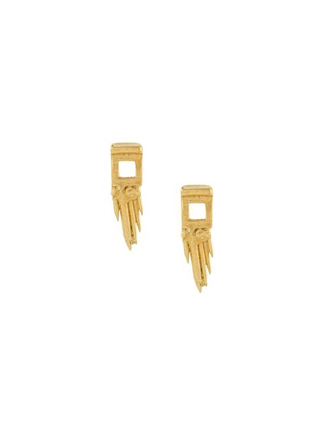 Ros Millar gun women earrings gold silver grey metallic jewels