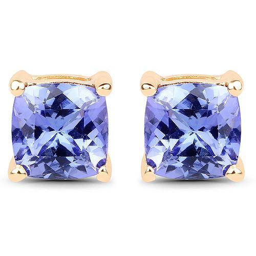 Ethically Mined Natural 1.7CT Cushion Cut Tanzanite Stud Earrings 14K Yellow Gold