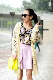 sweater,cardi,cardigan,shirt,blouse,flower shirt,cream,lavender,skirt,skater skirt,glasses,sunglasses