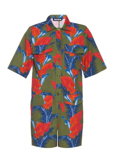 HOUSE OF HOLLAND Cotton-barkcloth tropical floral-print playsuit in khaki