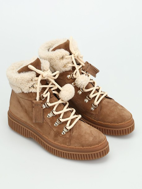 Tods booties suede beige shoes