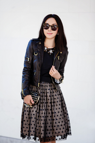 fit fab fun mom statement necklace round sunglasses black sunglasses polka dots black jacket knuckle clutch vue boutique
