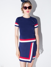 dress,pixie market,pixie market girl,two-piece,matching set,stripe set,cute clothing,matching separates,knit two piece set,red white and blue,affordable clothes
