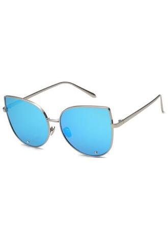 sunglasses blue metallic sunglasses silver frame bikiniluxe