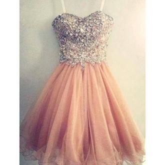 dress prom prom dress diamonds pink peach dress