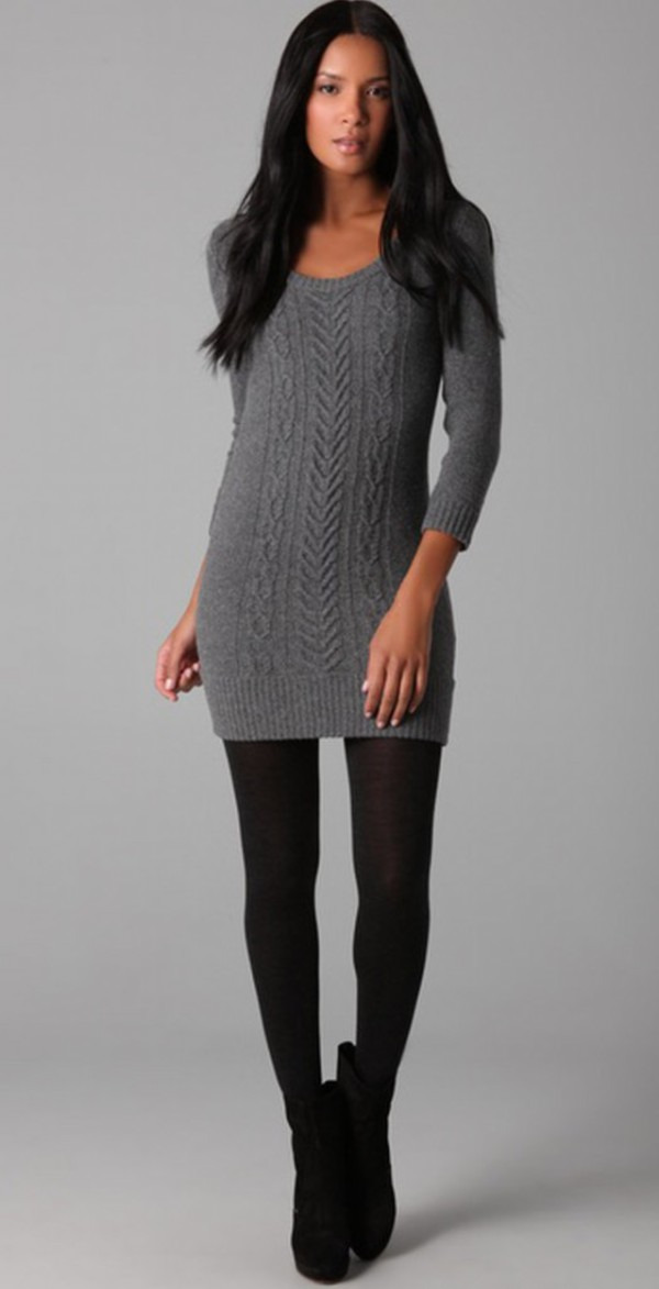 Dress sweater sweater dress fall outfits fall sweater leggings ribbed sweater grey grey ...