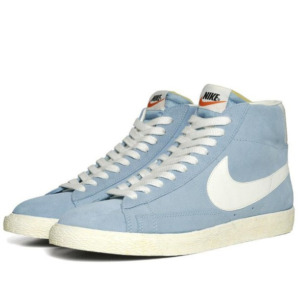 2c7d4435a8f6 shoes nike nike blazer mid sneakers blue and white jeans nike women sneakers  streetstyle sexy nike