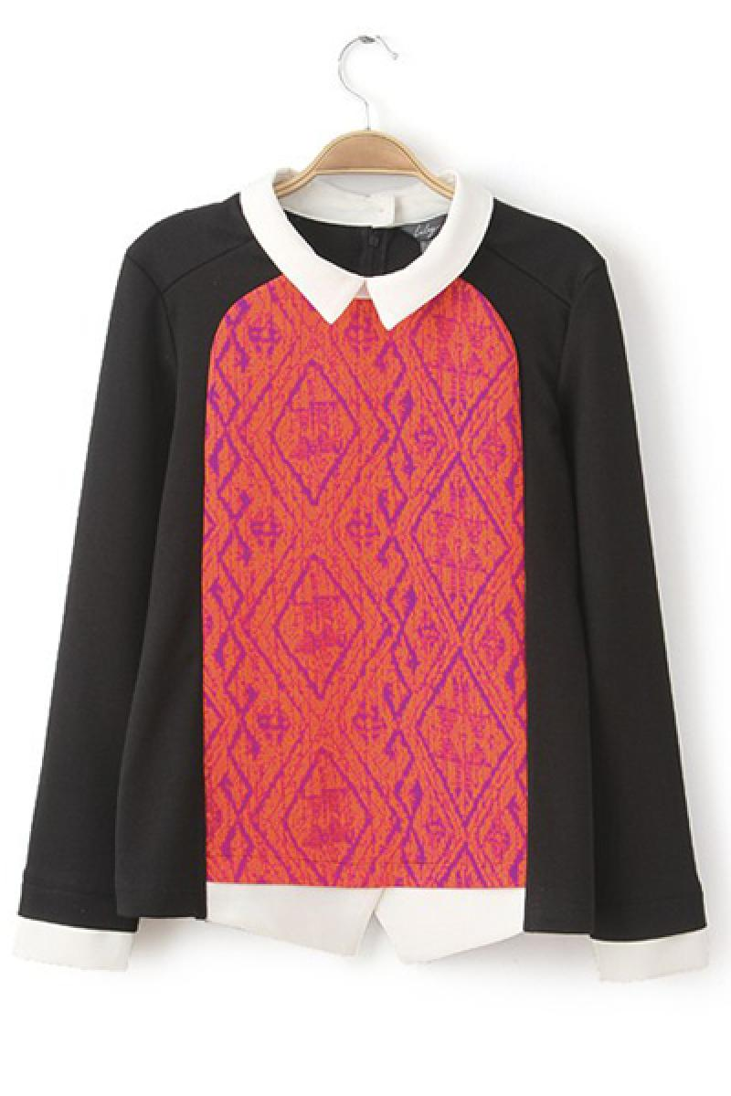 Western Contrast Color Skinny Long Sleeve Sweater,Cheap in Wendybox.com