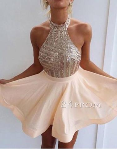 A-line chiffon sequin short prom dress, homecoming dress - 24prom