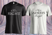 t-shirt,mr and mrs sweatshirts,mr and mers,mr right mrs always right,his and hers shirts,matching couples,couple t-shirts,couples shirt,valentines day gift idea,valentines day,valentine's day,love,cute,cute outfits,gift ideas,holiday gift,gifts for him,anniversary gifts for her