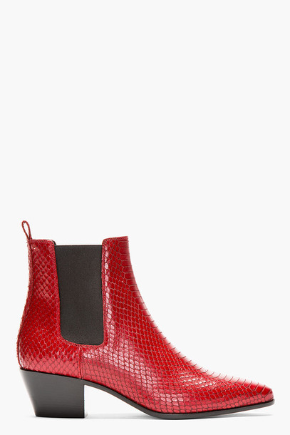 Elegant  Ladies 39Kensington Flora39 Cherry Red Arcadia Chelsea Boot 14650601