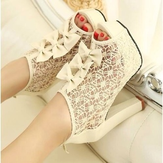 shoes white white lace heels peep toe lace bow bows lace bow heels open toes lace lace up ribbon