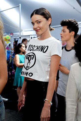 top crop tops cropped miranda kerr model moschino