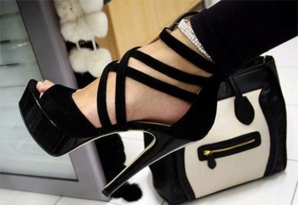 Shoes: clothes, high heels, heels, high, black, strappy, straks ...