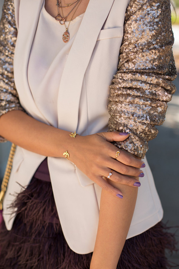 jacket blazer gold sequins nude jewels