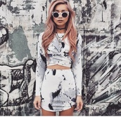 skirt,grey,tie dye,2 piece dress set,top,two-piece,marble,sunglasses