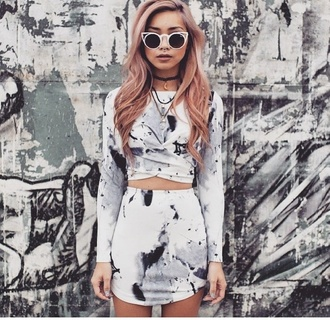 skirt grey tie dye 2 piece dress set top two-piece marble sunglasses