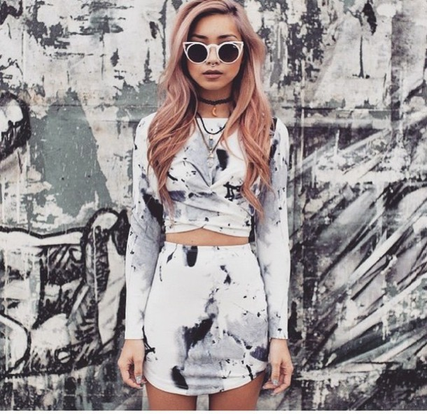 skirt grey tie dye 2 piece dress set top two-piece marble sunglasses