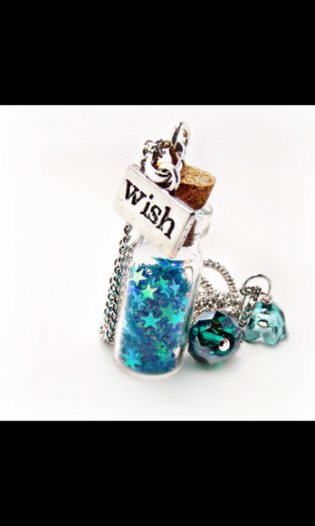 necklace jewels bottle necklace wish star glitter