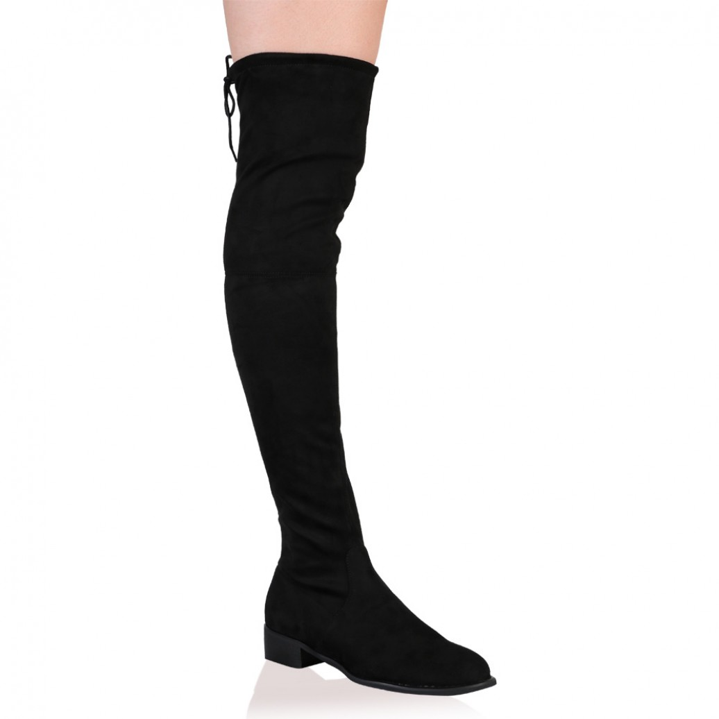 3a928ca94b7 Joy Over the Knee Boots in Black Faux Suede