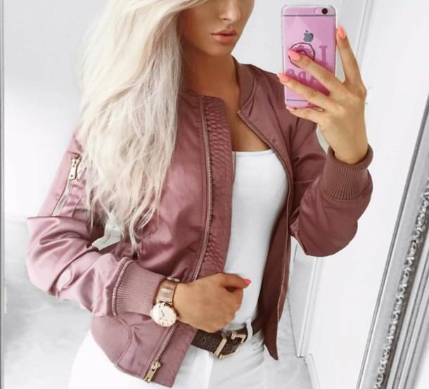 jacket pink bomber jacket bomber jacket