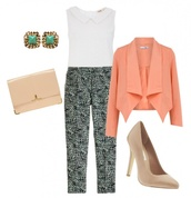 coat,cardigan,pants,blouse,heels,peach,handbag,purse,earrings,cute,tan,blue,balck,outfit,gold,tank top,tourquise