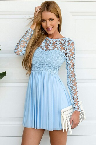 dress blue crochet long sleeves summer