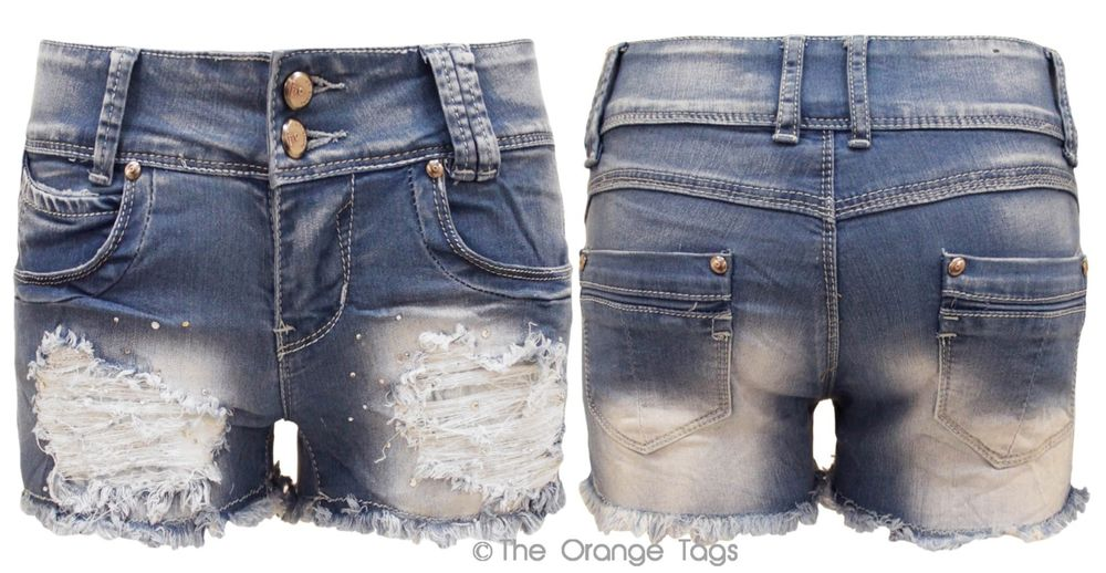 DISTRESSED DENIM SHORTS STUDDED WASHED DENIM WOMENS HOTPANTS 6-14 ...