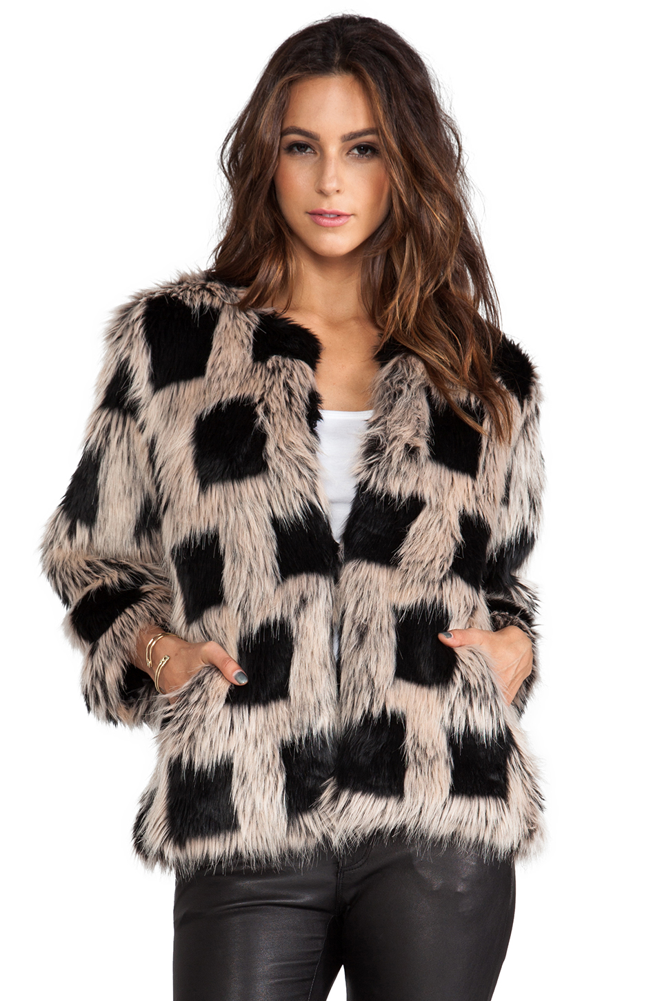 BSABLE Ischia Faux Fur Jacket in Checker | REVOLVE