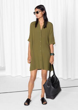 dress forest green shirt dress silk
