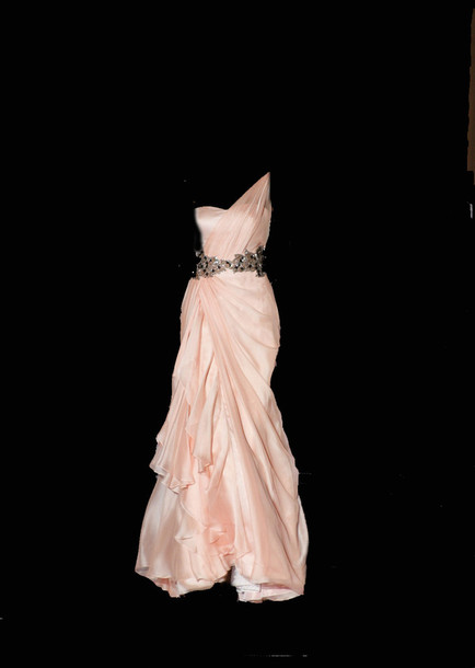 dress gown evening prom chiffon pink