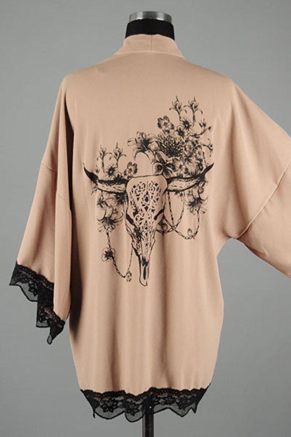 blouse kimono skull bull head feathers boho bohemian