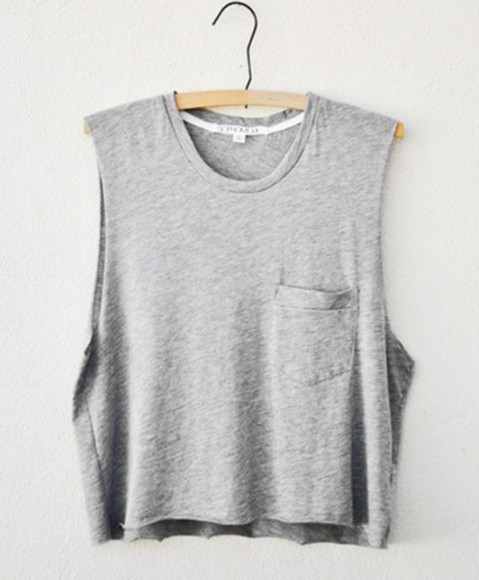 grey casual basic muscle tank plain comfy clothes hipster solid color pocket t shirt