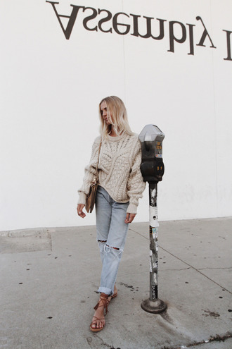 sweater tumblr beige sweater oversized sweater jeans light blue jeans ripped jeans sandals flat sandals lace up sandals brown sandals bag shoulder bag spring outfits back to school sweater weather cable knit