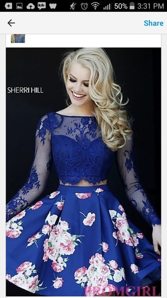dress homecoming dress blue dress floral dress midnight blue