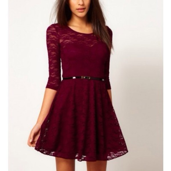 dress red burgundy lace summer dress lace dress burgundy dress burgundy dress long sleeve dress long sleeves graduation dress red dress black or blue beautiful halo burgundy fashion style girly rouge bordeaux dentelle dress short dress