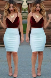 top,velvet,red,crop tops,high waisted,white,skirt,jewels,shirt,red crop top,white fitted,fall outfits,sexy,velvet top,red wine velvet plunge crop topp,velveteen,burgundy,v neck