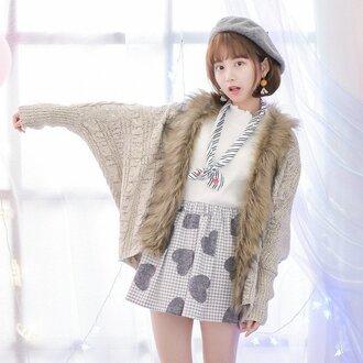 skirt heart pattern grey cute grid