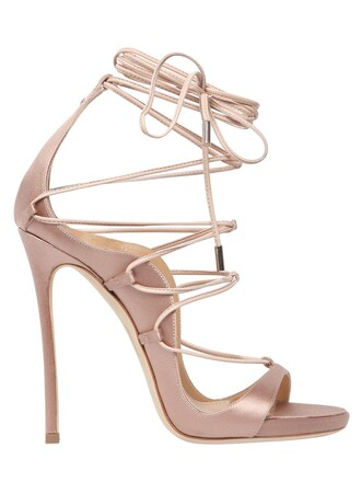 sandals lace satin nude shoes