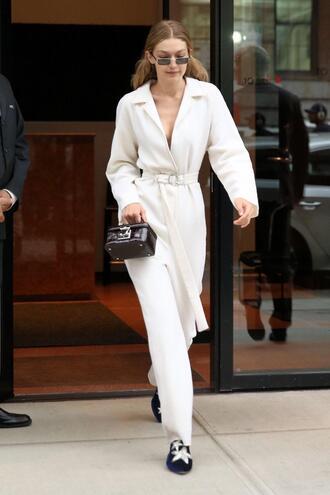 jumpsuit pants blouse gigi hadid model off-duty streetstyle shoes