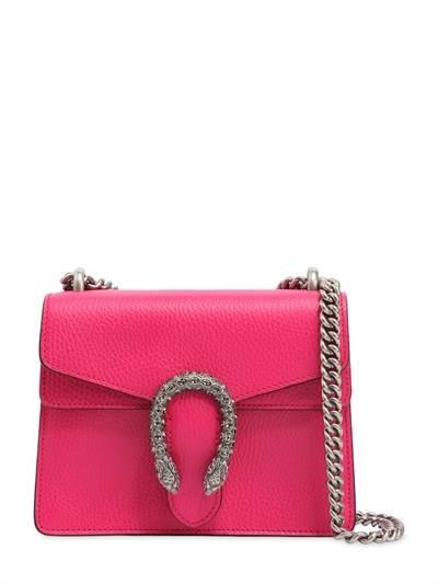 GUCCI, Mini dionysus bag w/ crystal buckle, Fuchsia, Luisaviaroma