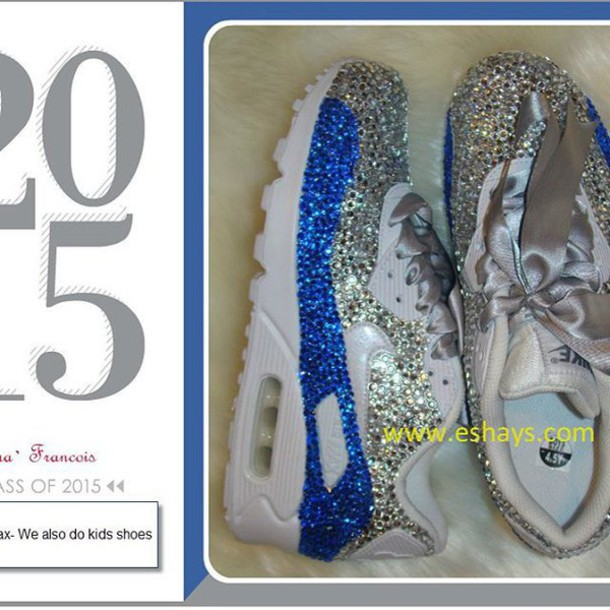 cf9b4db5562d36 shoes custom custom bling sapphire and clear rhinestone nike air max 90-  silver ribbon air