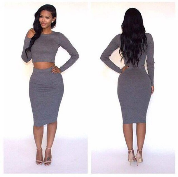 Dress: two-piece, two-piece, two piece gray set, two piece sweater ...