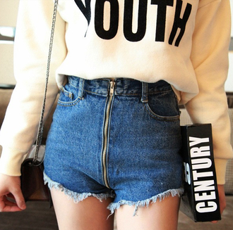 shorts blue zip bag youth black denim denim shorts jeans shirt fashion sweater high waisted it girl shop high waisted shorts grunge style hippie tumblr college hipster white sweater 90s grunge casual 90s style vintage indie weheartit