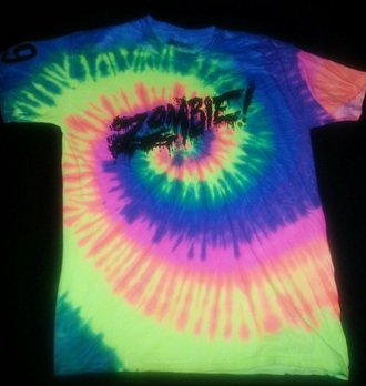 t-shirt colourful print flatbush zombies tie dye