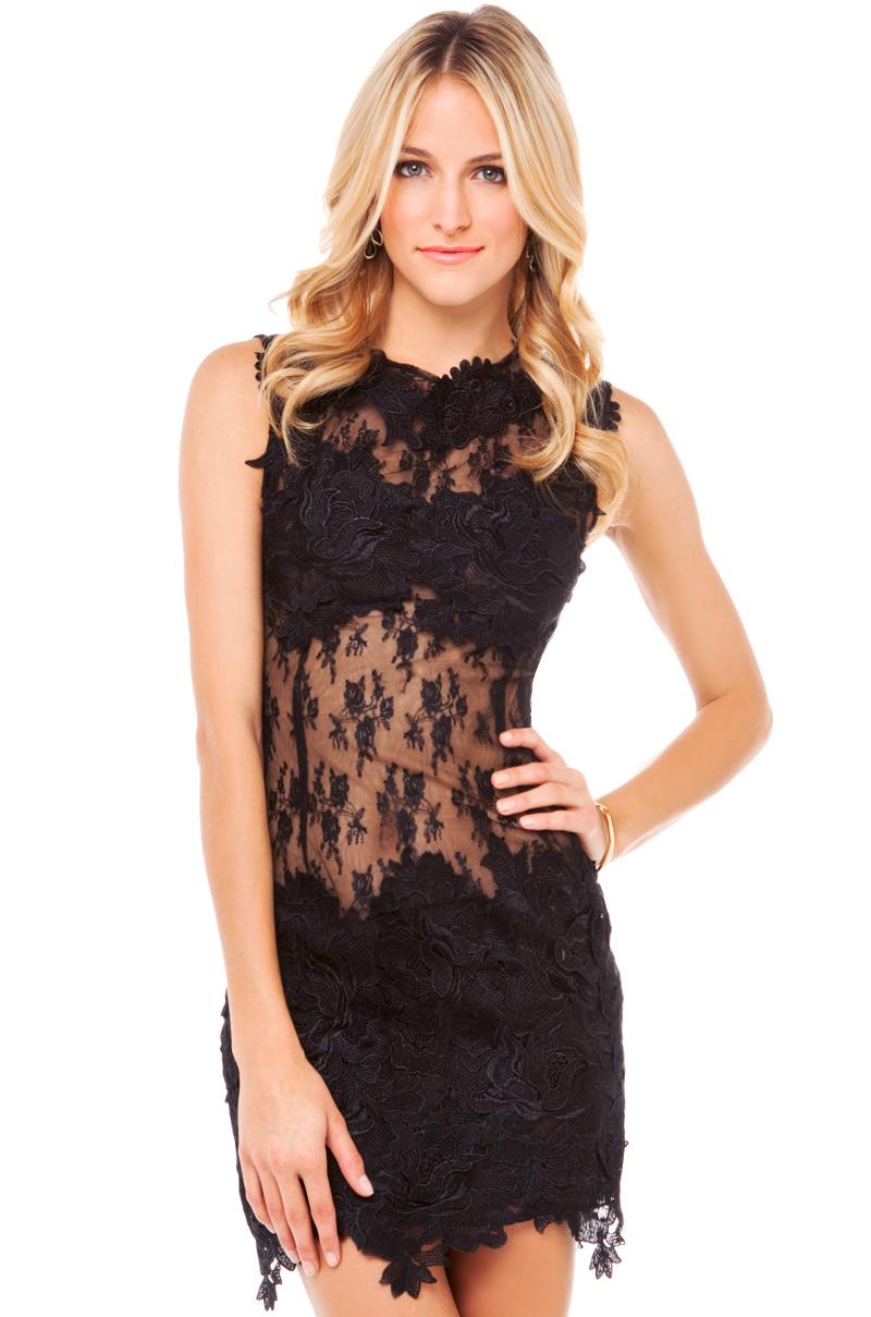 applique sheer dress in black