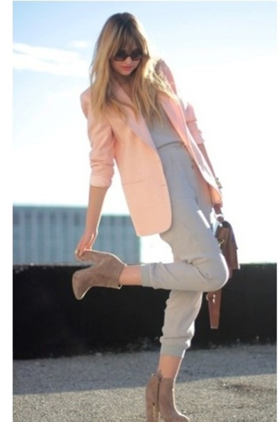 jacket pale pink jacket spring outfits feminine
