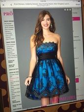 dress,blue prom dress,strapless dress,royal blue dress,homecoming dress